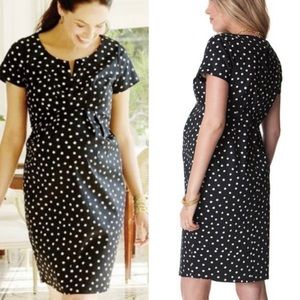 Seraphine Polka Dot Cotton Sateen Maternity Dress